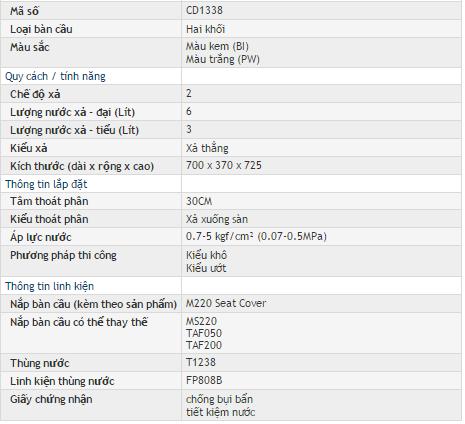 Bồn cầu hai khối- hai chế độ xả caesar CD1338