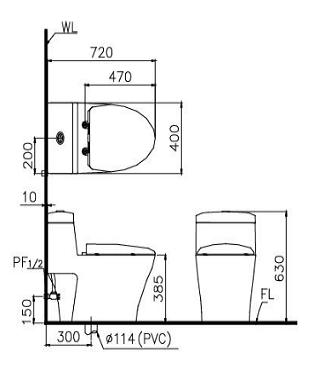 Kích thước bồn cầu một khối hai chế độ xả Caesar CD1356